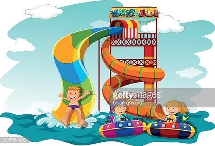 Boys and girl riding down the water slide Clipart Image.