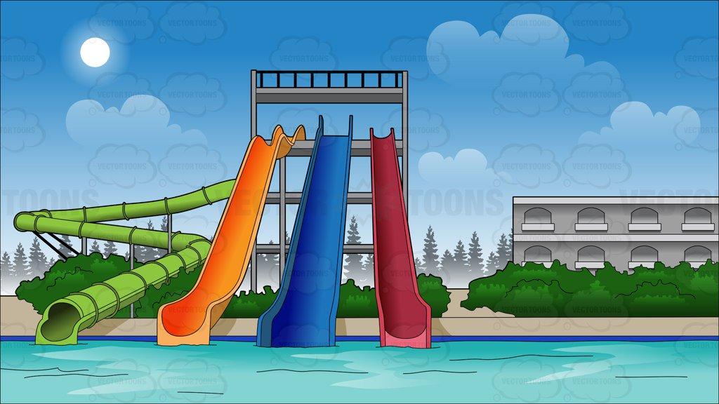 Water slide water park slides background cartoon clipart.