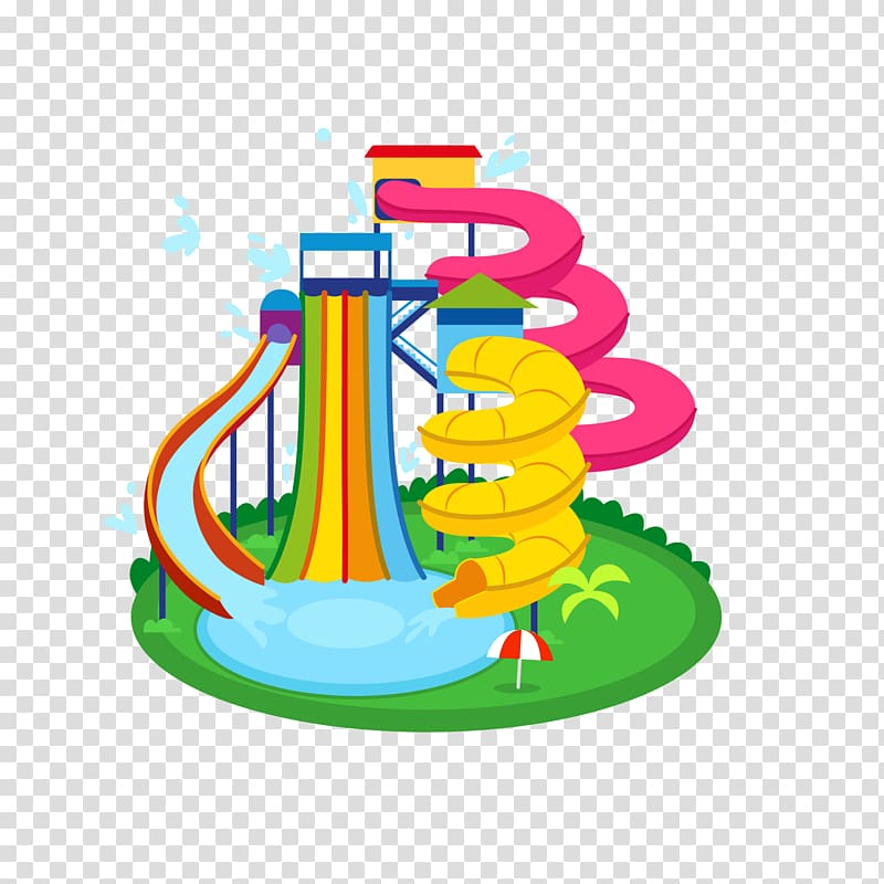 Pink, yellow, and blue pool with slide animated illustration.