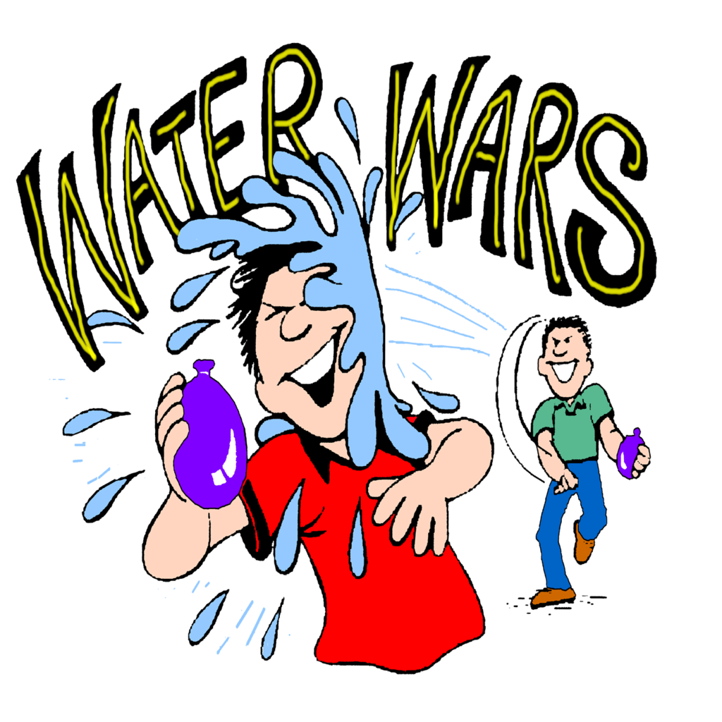 Water fight clipart.