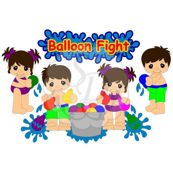 Water balloon fight clipart.