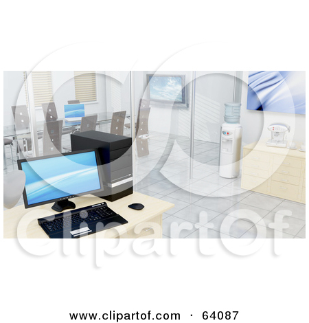 Clipart Illustration of a Modern Black Leather Sofa With Chrome.