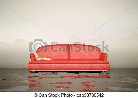Stock Photo of water damage sofa.