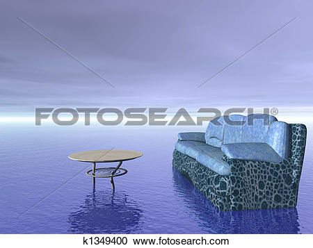 Stock Illustrations of comfort concept: sofa and table furniture.