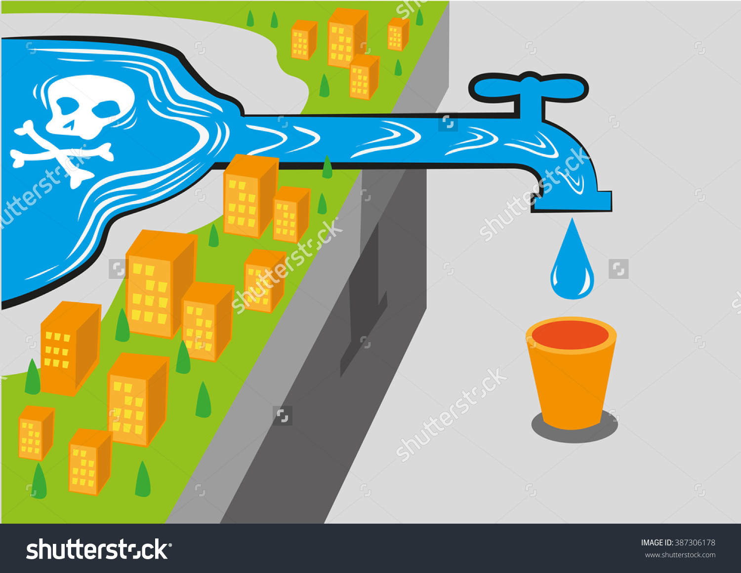 Water Source Has Poison Like Lead. Editable Clip Art. Stock Vector.