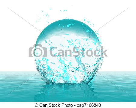Stock Illustration of Blue sphere on water with light reflection.