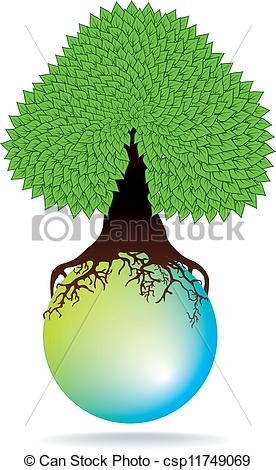 Clip Art Vector of green tree on water sphere.