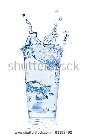 Ice Cubes Splashing Into Glass Water Stock Foto 72074797.