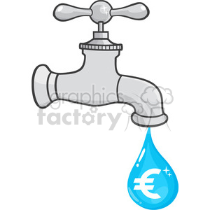 12880 RF Clipart Illustration Water Faucet With Euro Dripping clipart.  Royalty.