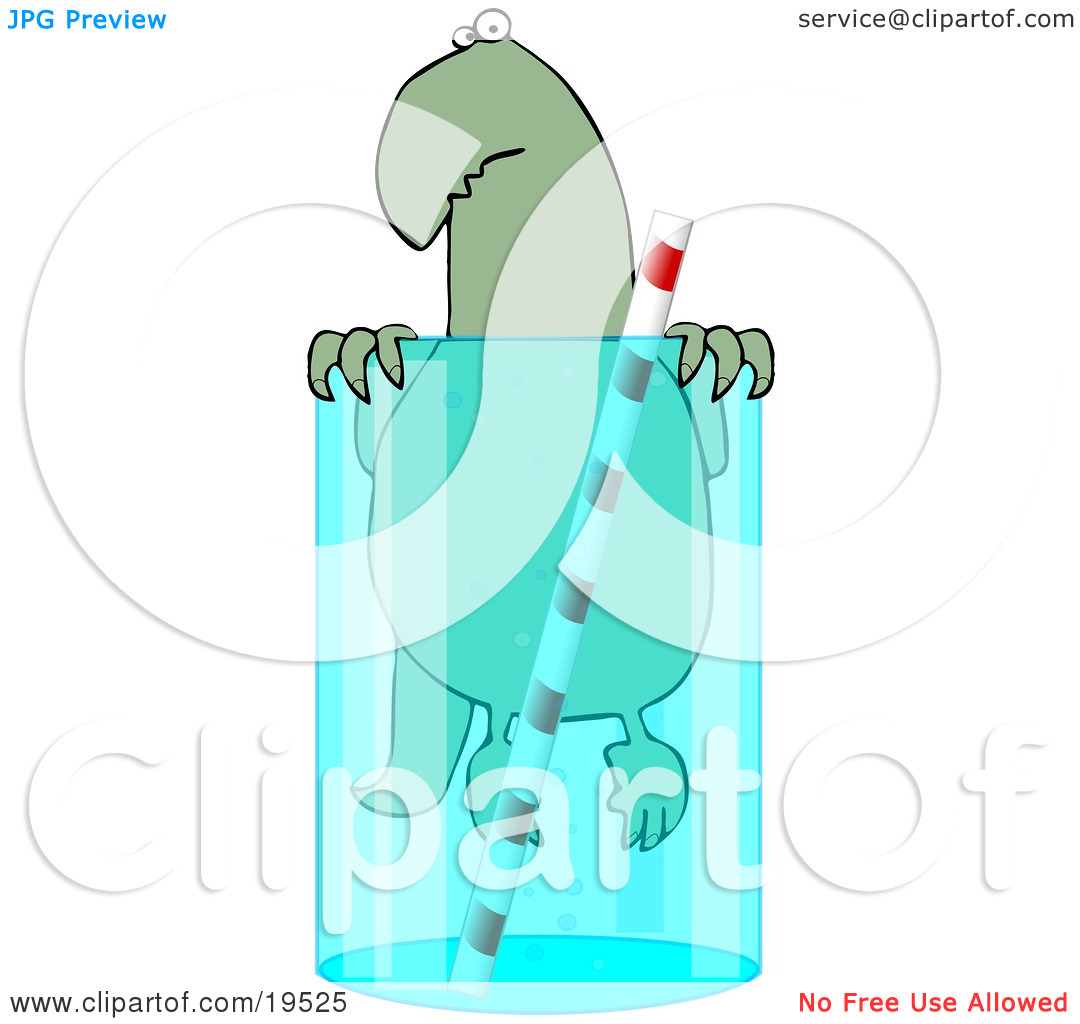 Clipart Illustration of a Cute Green Dinosaur Swimming In A Glass.