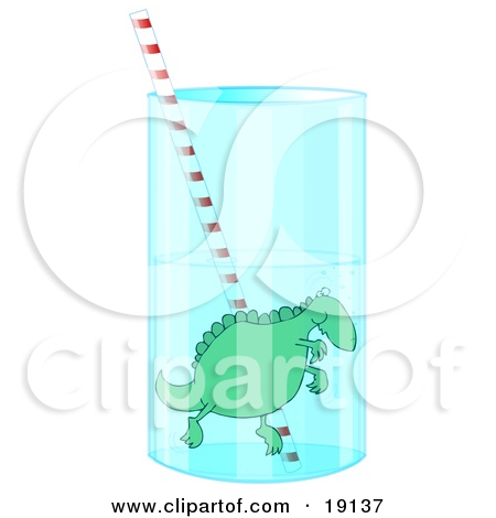 Clipart Illustration of a Green Dinosaur With Red And Green Spikes.