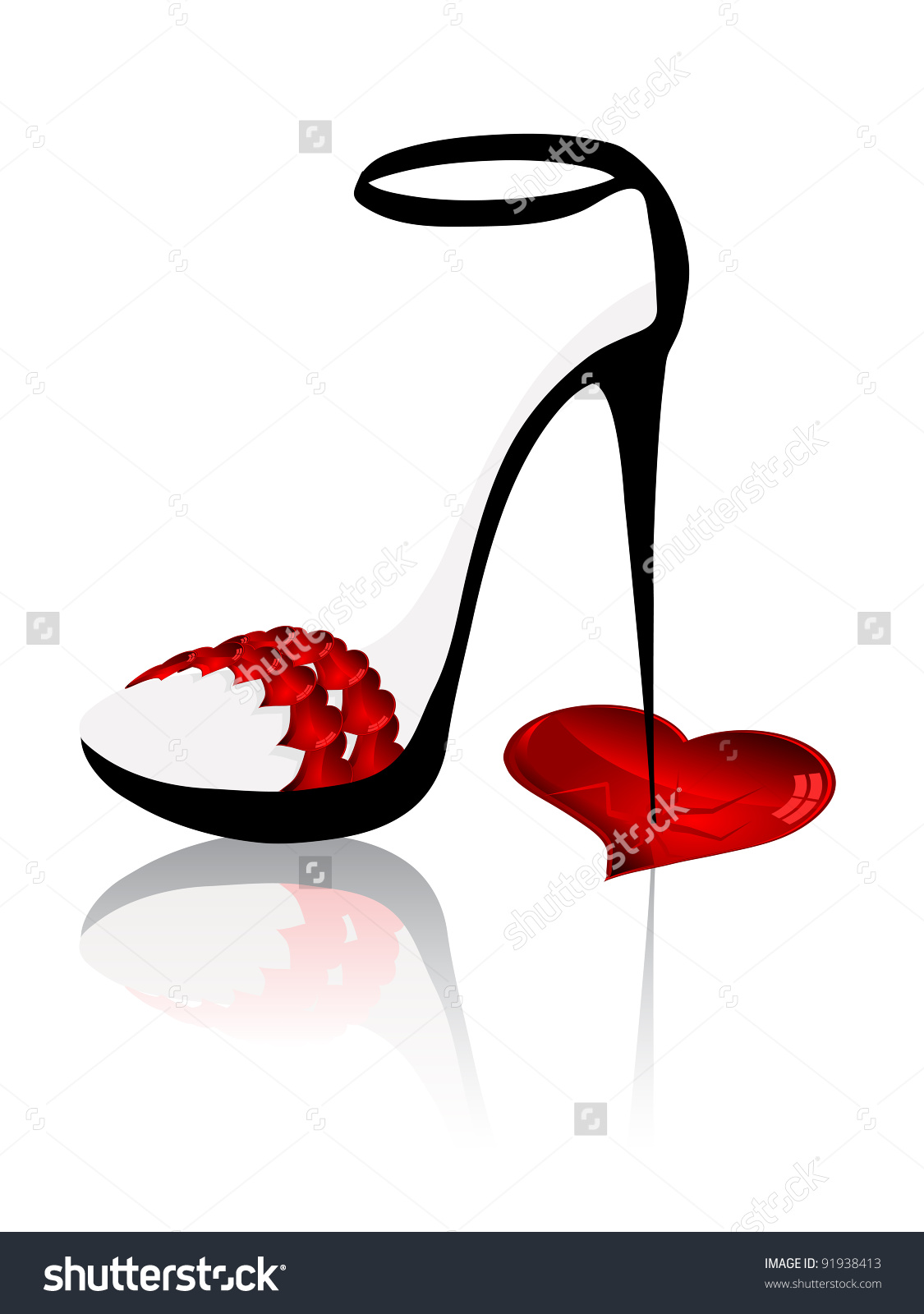 Ladies Shoe Spike Heels Broken Heart Stock Vector 91938413.