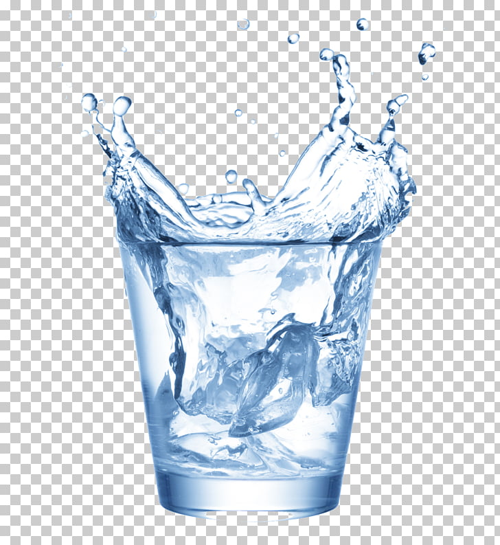 Water softening Glass, water splash, clear cup filled with.