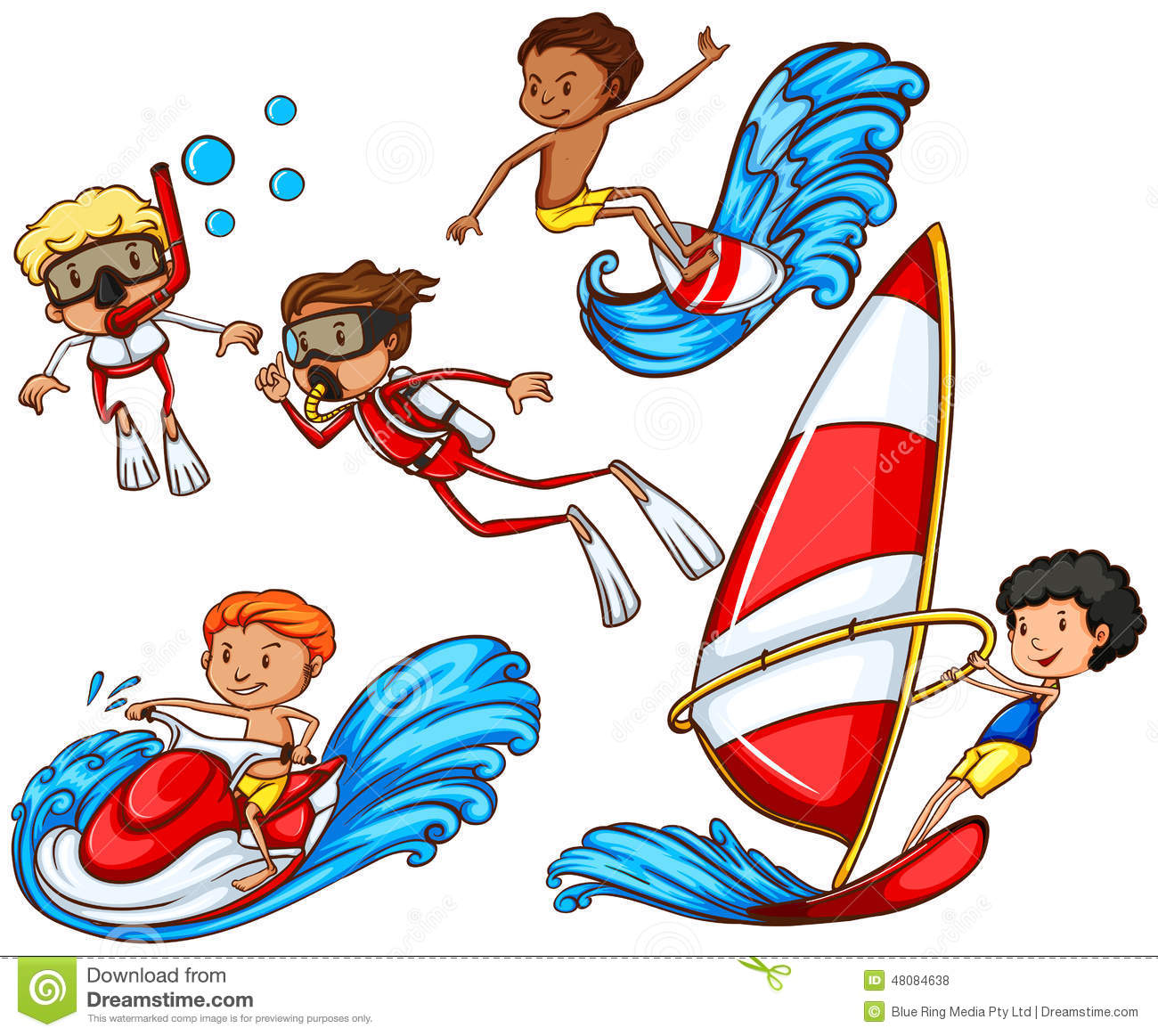 Parasailing Stock Illustrations.