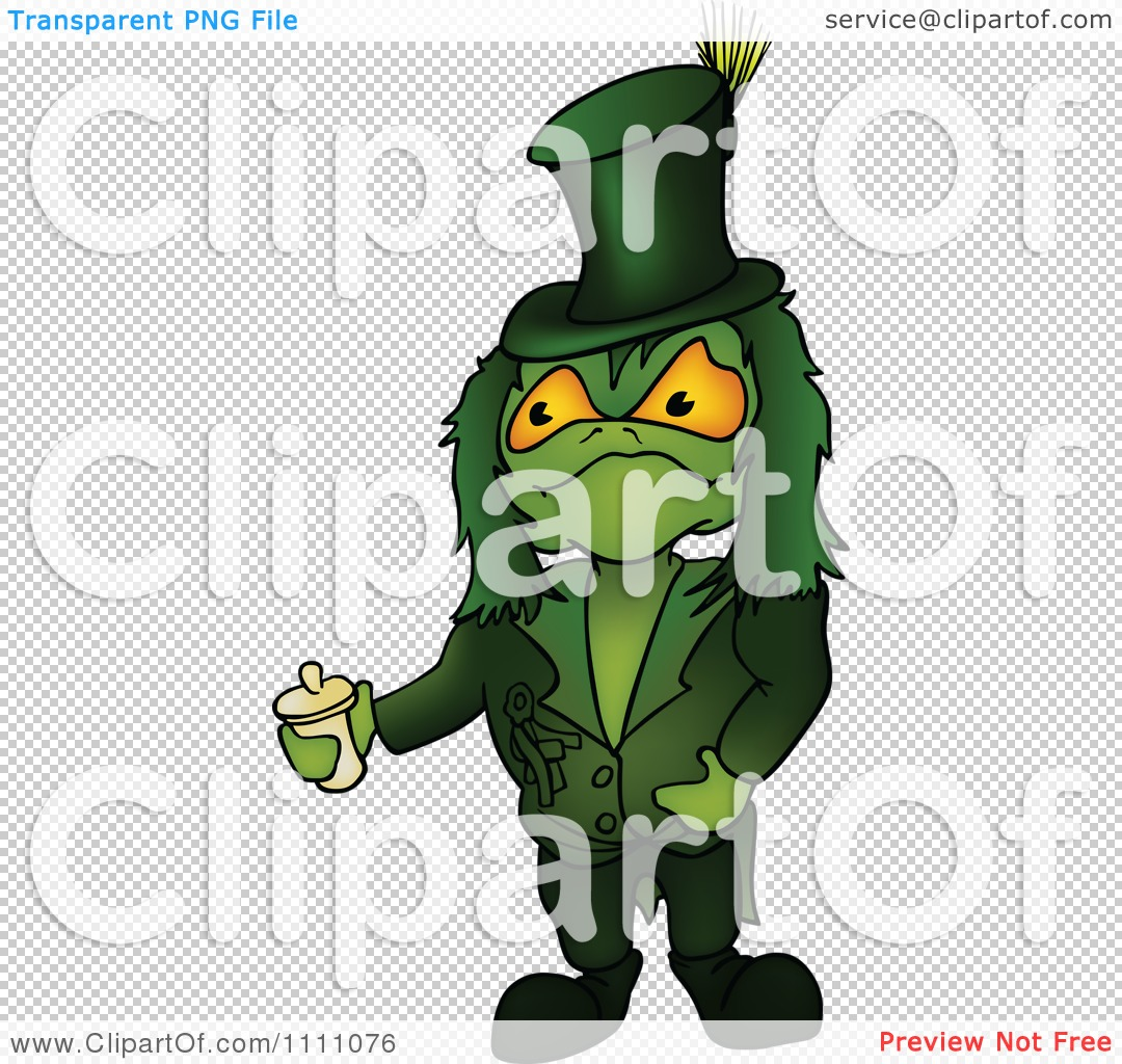 Clipart Green Water Sprite Holding A Container.