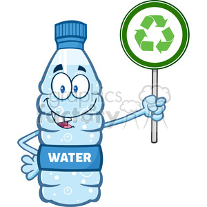 illustration cartoon ilustation of a water plastic bottle mascot character  holding up a recycle sign vector illustration isolated on white background.