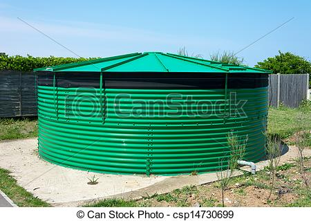 Stock Photographs of Cylindrical water storage tank..