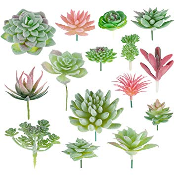 Meiliy 15pcs Artificial Succulent Plants Flocked Faux Succulents Unpotted  Plant for Home Wedding Garden Decor Art Craft Floral Arrangement.