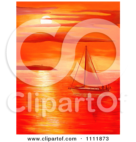 Water sunset red clipart #8