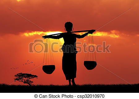 Clip Art of African woman carrying water at sunset.