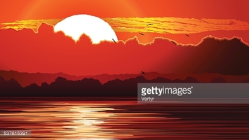 Illustration of Red Sunset and Glare on stock vectors.