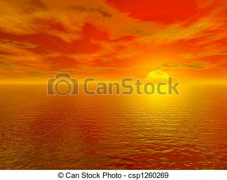 Water sunset red clipart #5