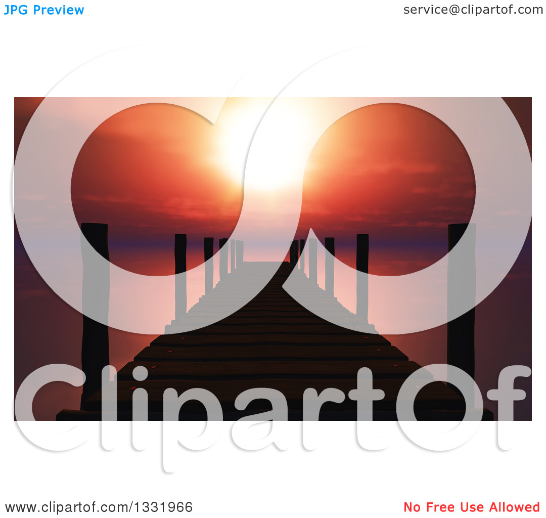 Clipart of a Red Sunset over a Silhouetted 3d Pier or Dock and.