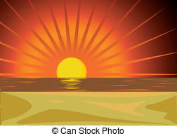 Water sunset red clipart #2