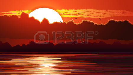20,943 Sunset On The Water Stock Vector Illustration And Royalty.