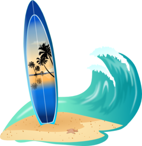 Surfboard And Wave Clip Art at Clker.com.