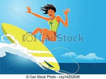 Surf Girl Clipart.