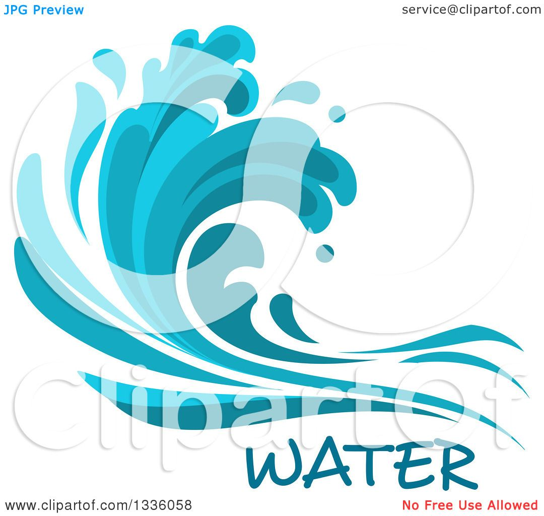 Clipart of a Blue Splash or Surf Wave with Water Text 7.