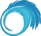 Clip Art of Water swirl with bubbles abstract k9179679.