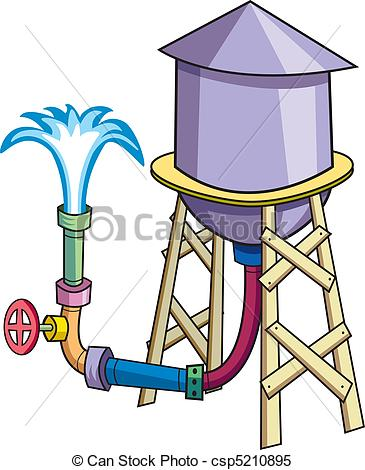 Clipart Vector of Water Tower.