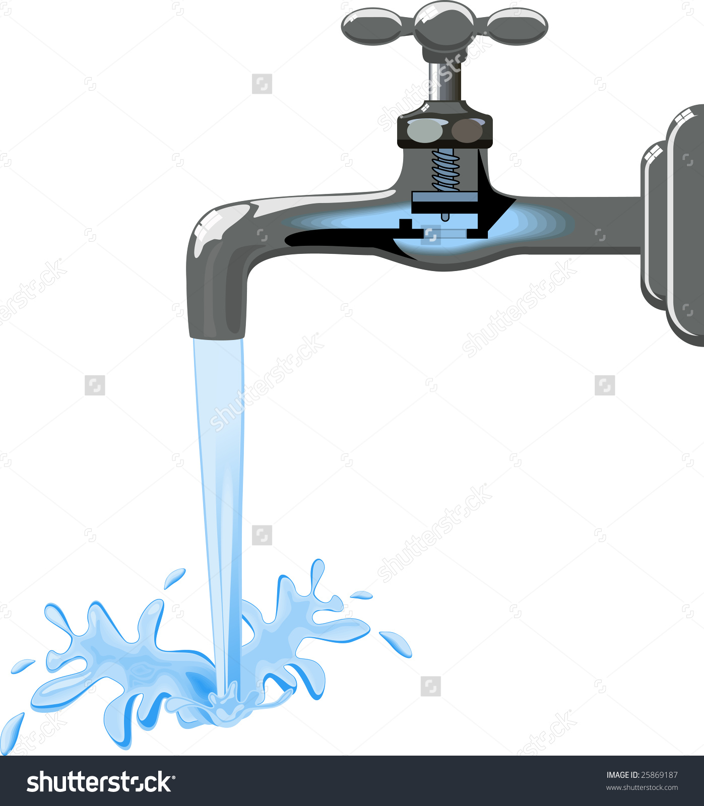 Tap Water Running Clipart.