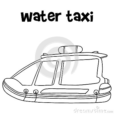 Water Taxi Of Transportation Hand Draw Stock Vector.