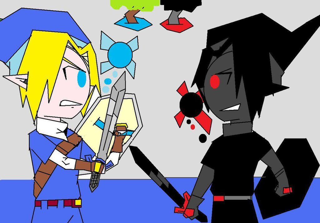 Link vs. Dark Link in The Water Temple by ChrisAnime15 on DeviantArt.