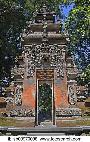 """Pictures of """"Entrance gate in the Tirta Empul Water Temple, Bali."""