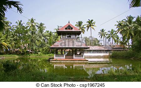 Stock Images of temple on water.