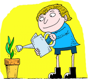 Watering The Plants Clipart.