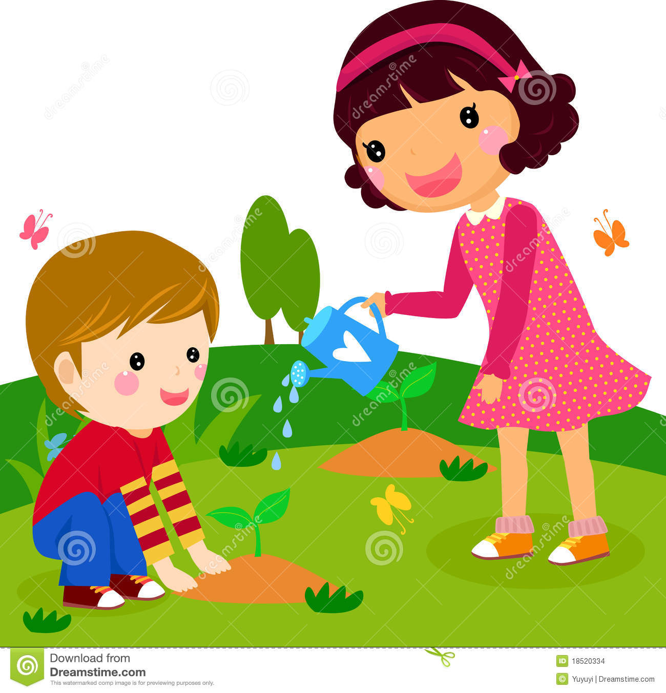 Boy And Girl Water A Plant Stock Images.