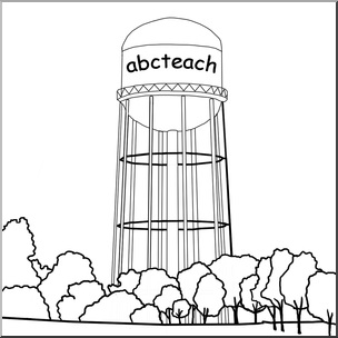 Clip Art: Water Tower B&W I abcteach.com.