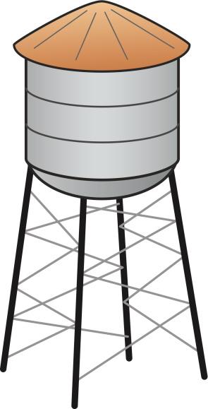 Mushroom water tower clipart.