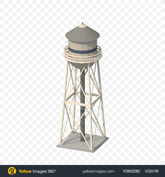 Download Low Poly Water Tower Transparent PNG on Yellow Images 360°.