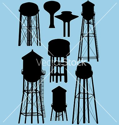 Water tower silhouettes vector 564531.