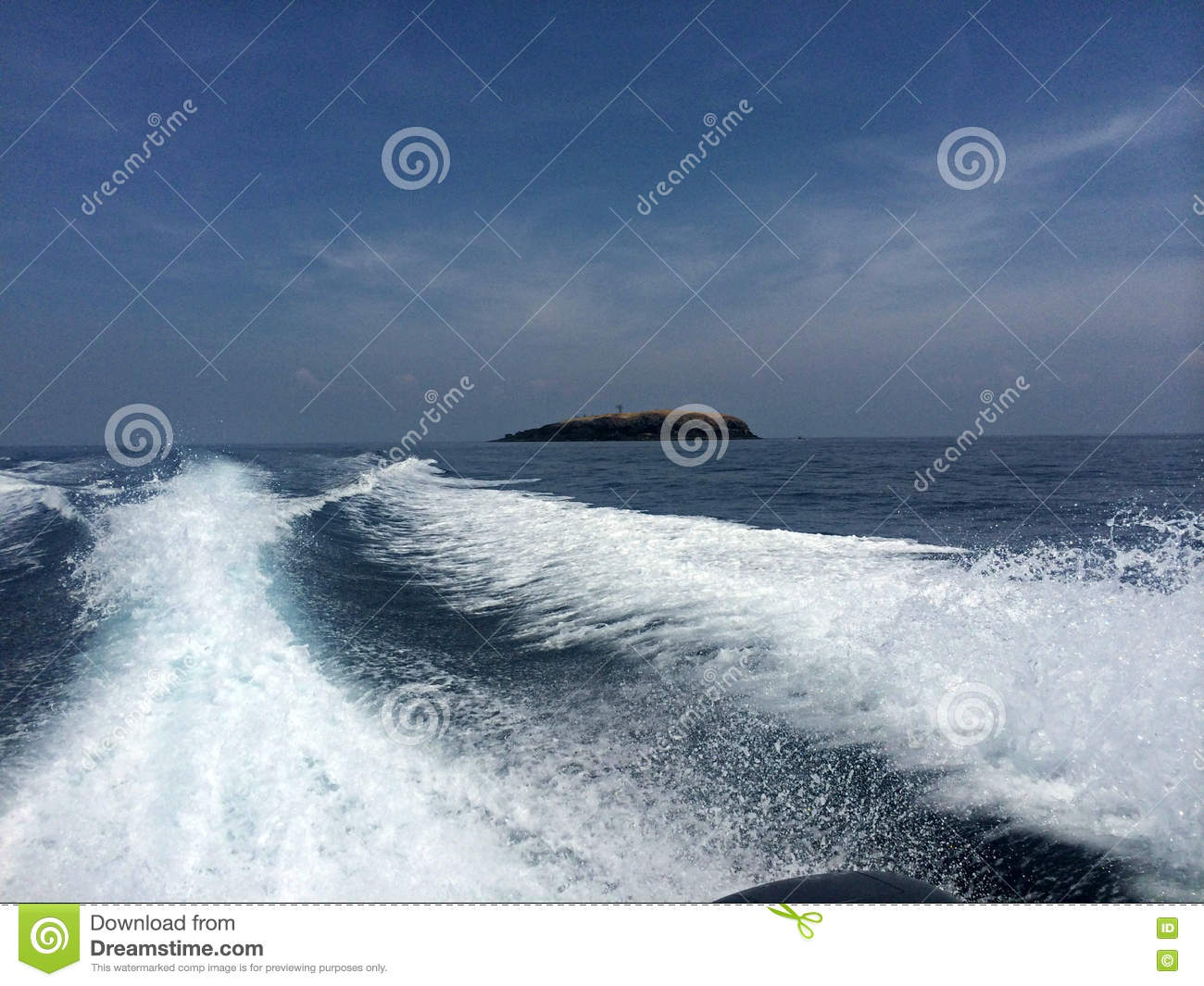 Speed Boat Moving On Water Clipart.