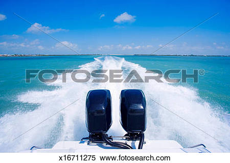 Stock Image of USA, Florida, Key West, water trail behind moving.