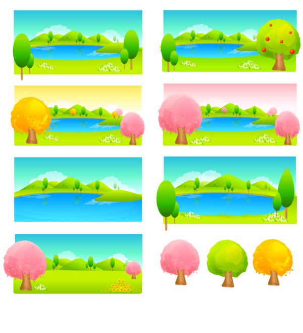 Drawn Style Of The Seasonal Transformation Of Trees Landscape.