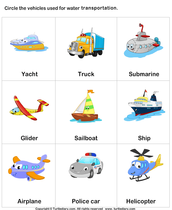 Water Transportation Clipart With Names.