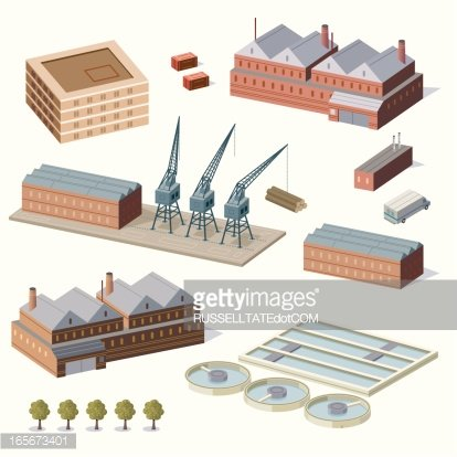 Warehouse buildings and water treatment plant Clipart Image.